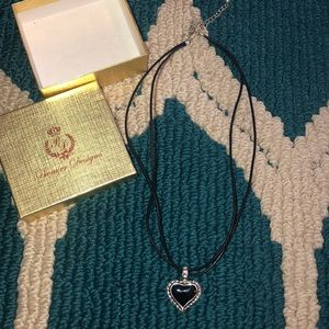 Premier Designs heart necklace with rhinestones